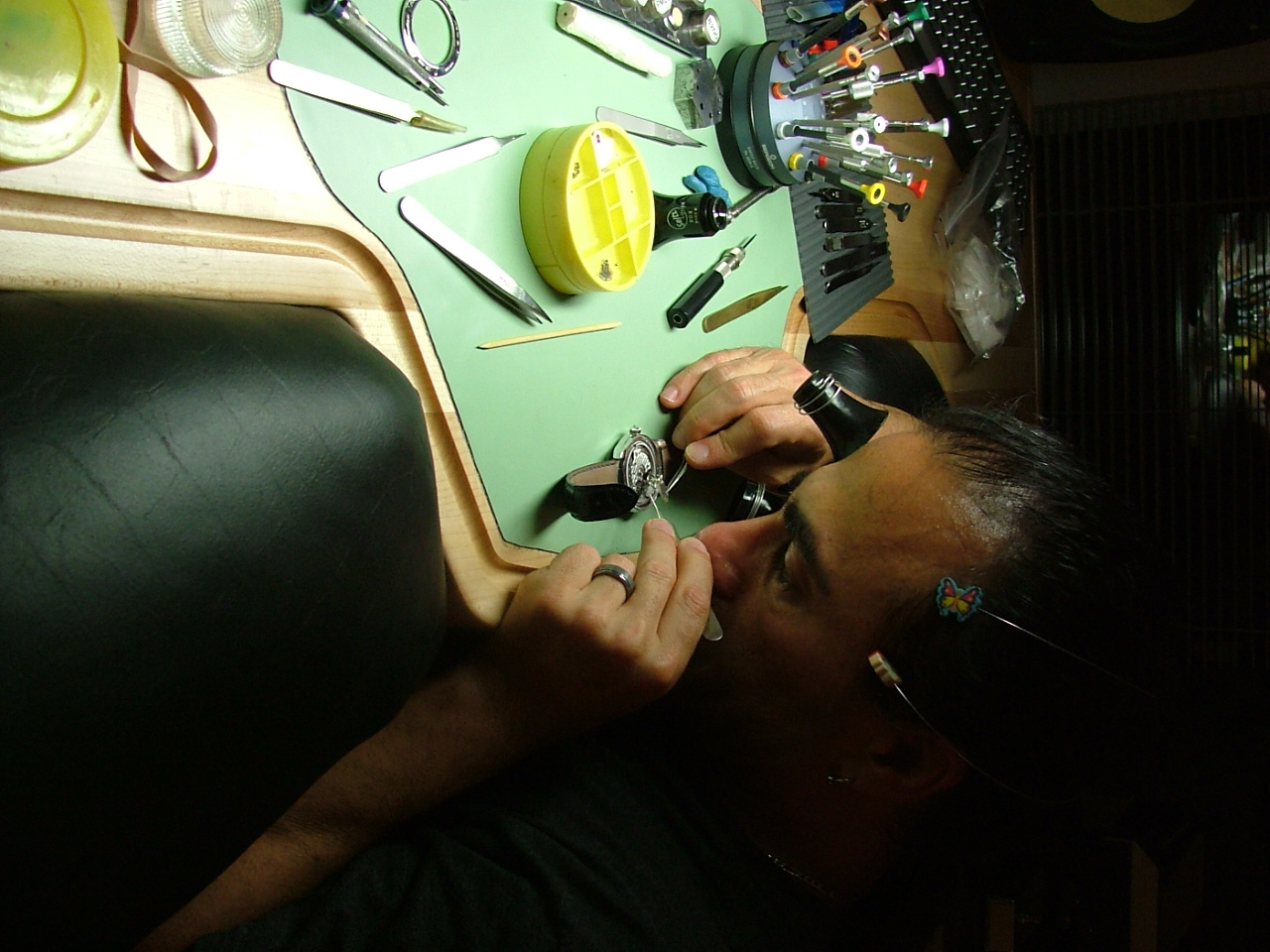 Dan Spitz working on a double barrel retrograde watch